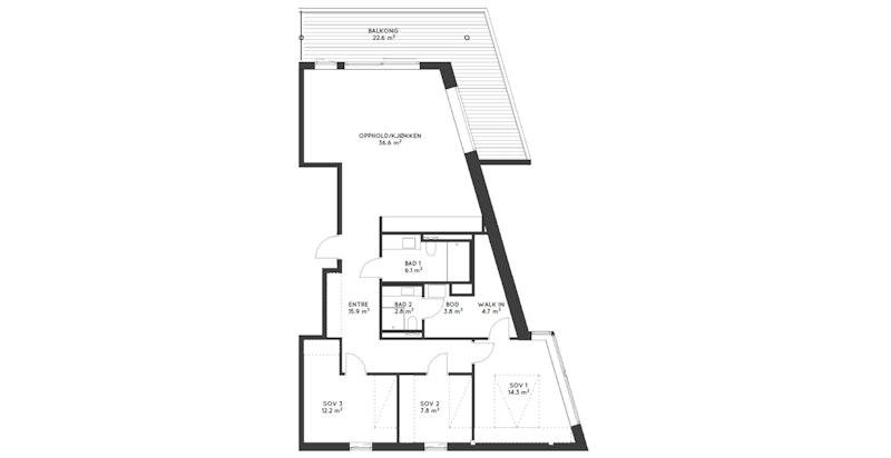 Plantegning leilighet 102C-402, 4-roms hjørneleilighet, 109,5 kvm, 4. etasje.