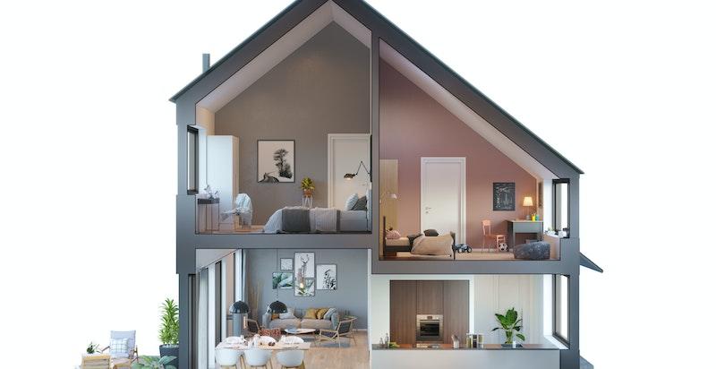 Rene linjer, moderne rominndeling og varierende etasjenivåer, møter smarte løsninger for både store og små. Kun ment som illustrasjon.