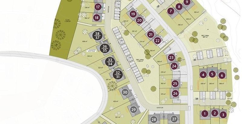 Oversiktsbilde med husnummer - salgstrinn 1 og 2.
