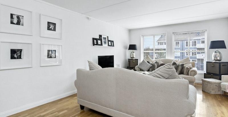 Velger man en annen møblering, er det plass til spisestuemøbler i stuen også.