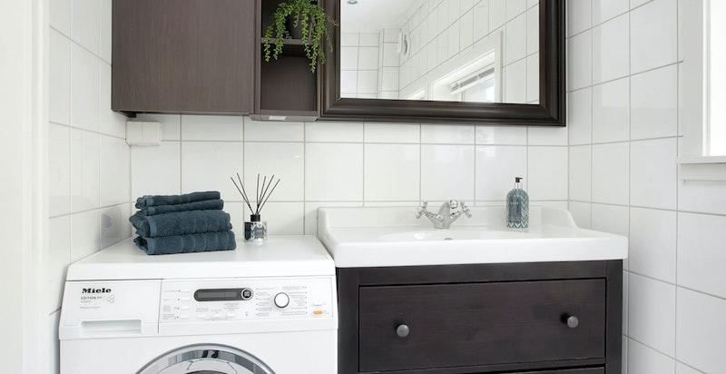 Opplegg og plass til vaskemaskin på baderommet