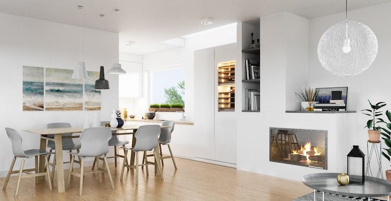 Stuen med delvis åpen kjøkkenløsning- Illustrasjon