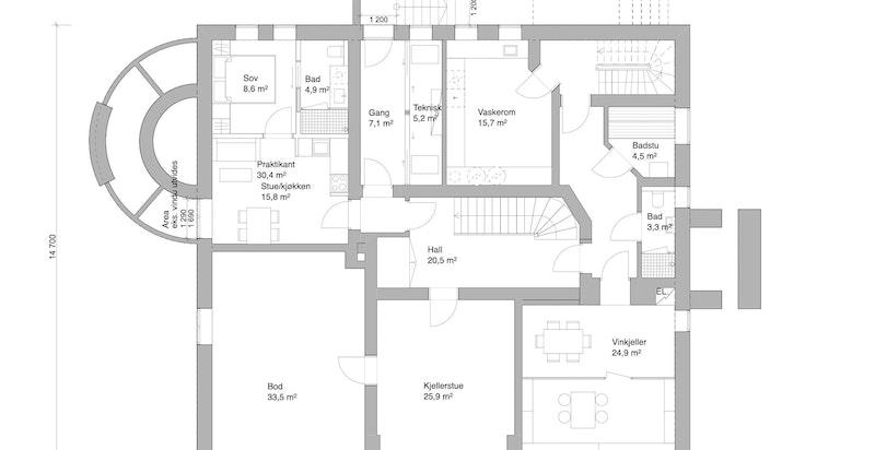Plangtegning u. etasje