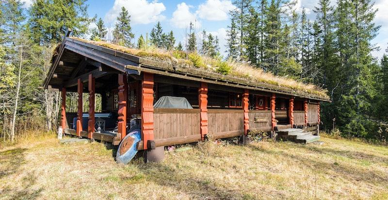 Klassisk hytte med torv på taket