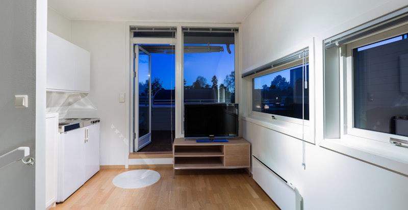 Loftstue med minikjøkken og utgang til takterrasse