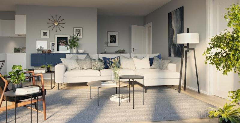 Illustrasjonsbilde fra stue i prosjektet.