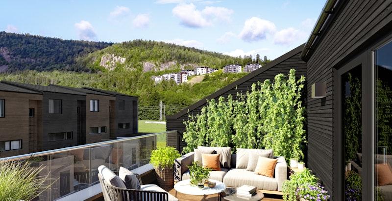 De største rekkehusene har både hageparsell og takterrasse