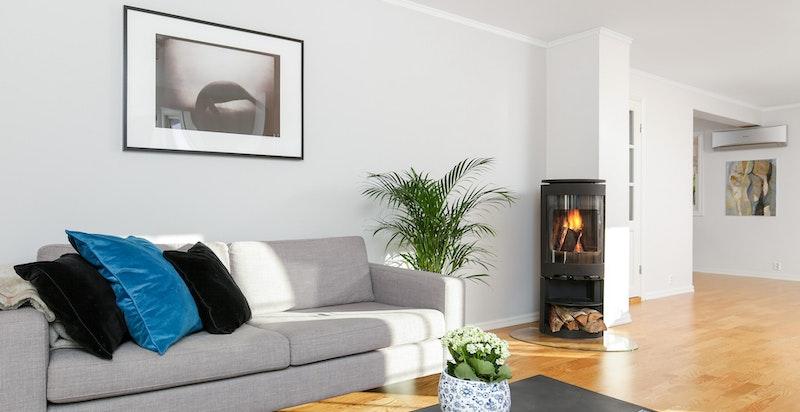 Moderne peisovn i stue som gir god varme