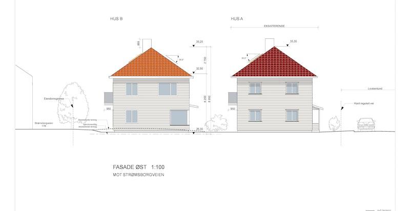 Fasade øst - Hus B (Hus A er eksisterende bolig som ikke er en del av salget)