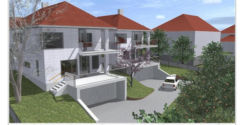 Perspektiv - Lovisenlund 2 A og B (Hus B i bakkant er tomten som selges)