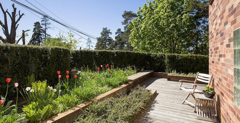 Pent beplantede soner i hagen