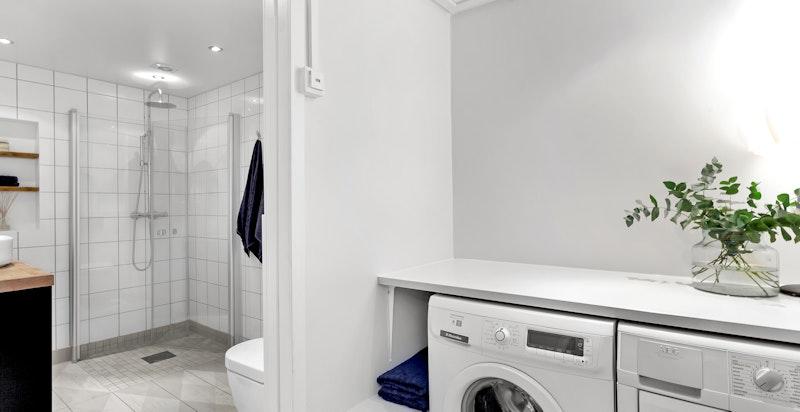 Det tidligere toilettrommet er gjort om til et praktisk vaskerom