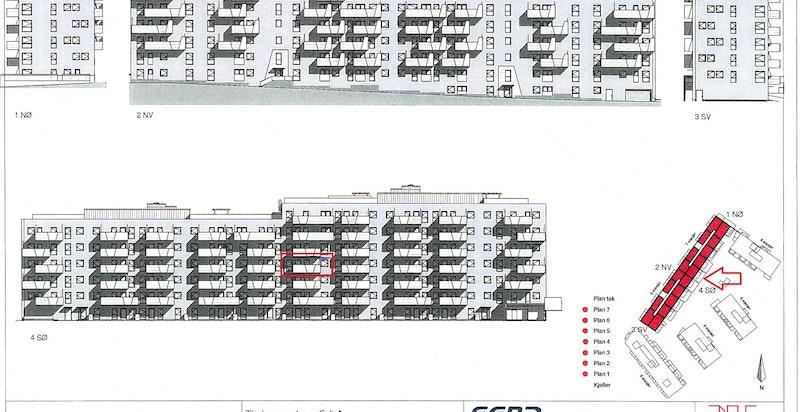 Rød pil og markør i rødt viser leilighetens interne beliggenhet i bygget.