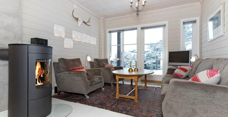 Lys og hyggelig stue med peisovn og utgang til terrasse