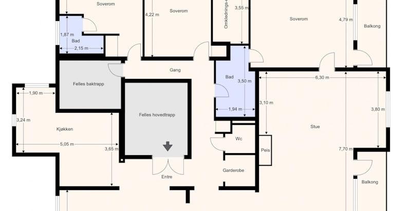 Planskisse 3. etasje. Innholdsrik endeleilighet over en halv etasje.