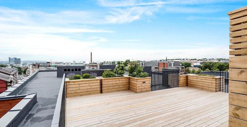Felles takterrasse i 7. etasje med flott utsyn mot byen (sommerbilde)