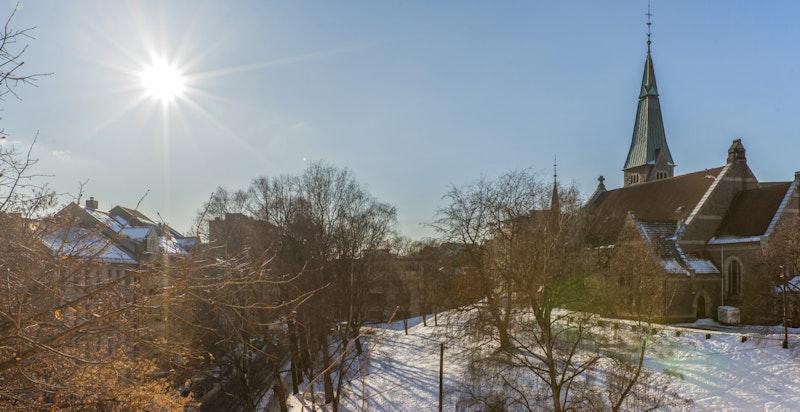 Utsyn fra vindu vendt mot vakre Stensparken, en idyllisk oase i urbane omgivelser