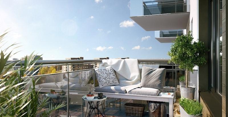 Vestvendt balkong på 7 kvm vendt ut mot hyggelig gårdstun og lite innsyn