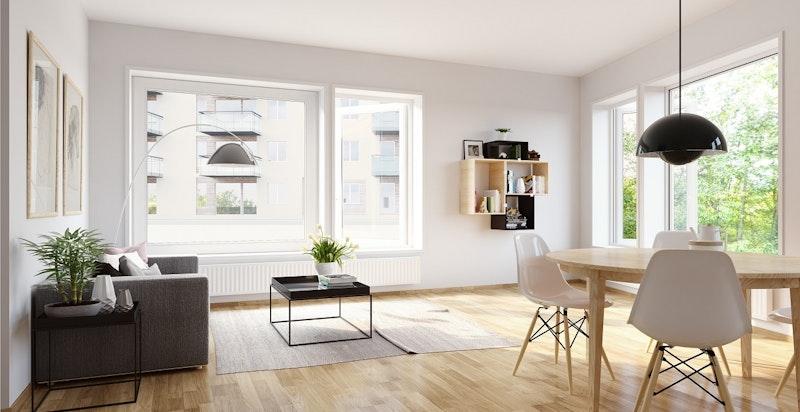 Moderne og lys 2-roms med åpen stue- og kjøkkenløsning - *bildet avviker fra den faktiske leiligheten