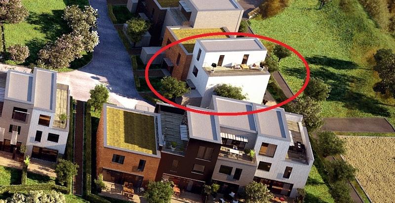 Rød markør viser bolig J12 sin beliggenhet. Kun ment som illustrasjon.
