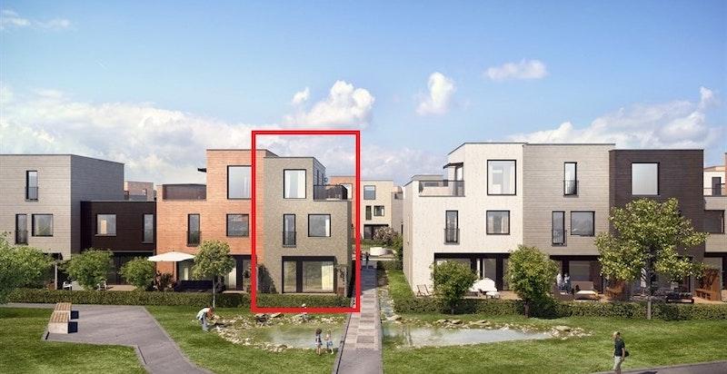 Fasade husrekke J. Rød markør viser bolig J07. Kun ment som illustrasjon.