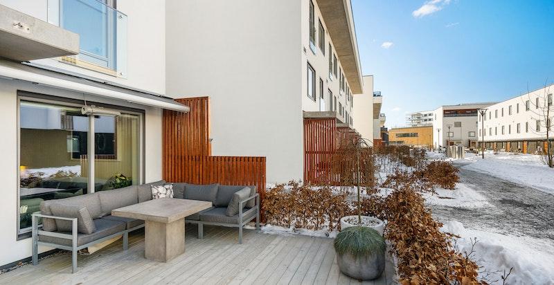 Stor terrasse på 23 kvm