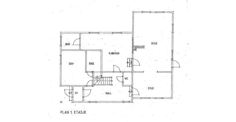 Plantegning 1. etasje.