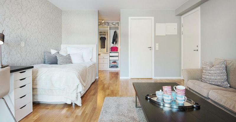 Soverom 4 kan med enkle grep tilbakeføres til hybel med bad, soverom, kjøkken og separat inngang
