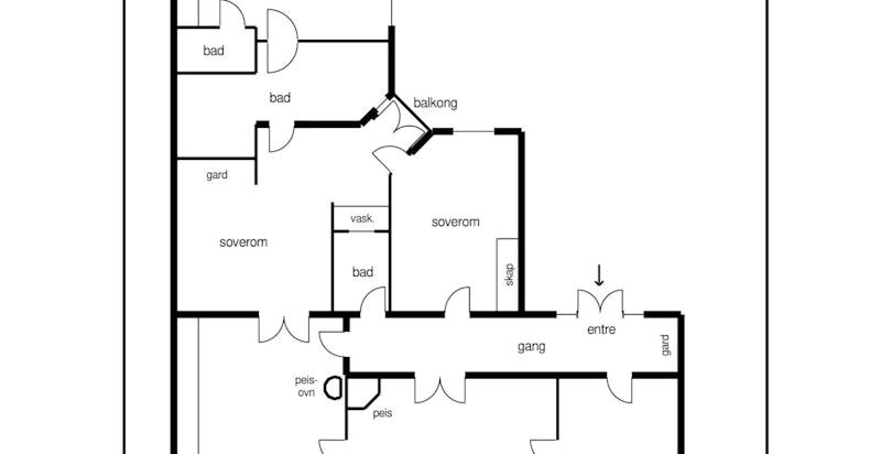Planløsningen i leiligheten er svært god, og godt løst med praktikantdel