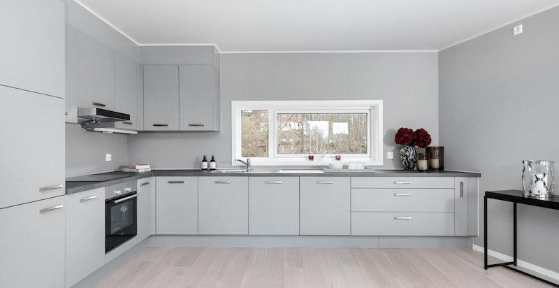 Kjøkkenet er romslig og har god skap- og benkeplass.