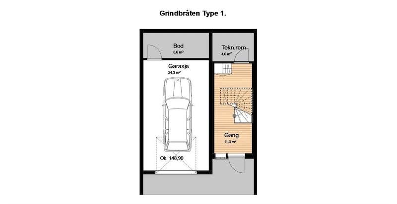 - Plantegning underetasje med garasje og inngangsparti-