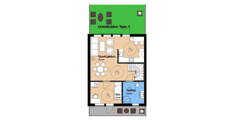 -Hovedplan med stue/kjøkken, soverom, bad og utgang terrasse/hage-