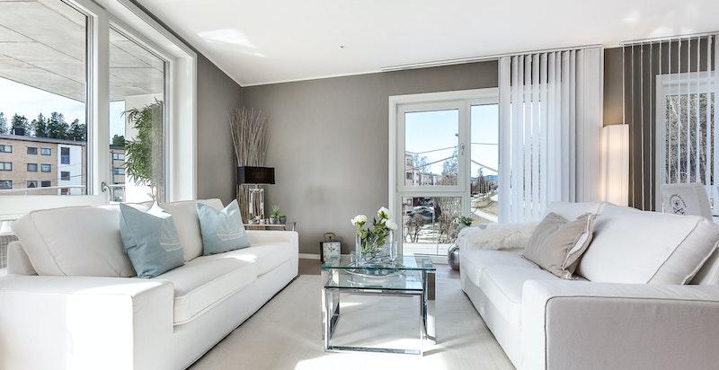 Stuen er romslig og har plass til stor sofagruppe.