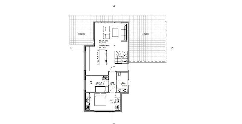 Plantegning 1.etasje - Stuttvegen 4 B