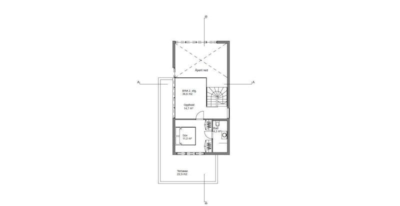 Plantegning 2.etasje - Stuttvegen 4 B