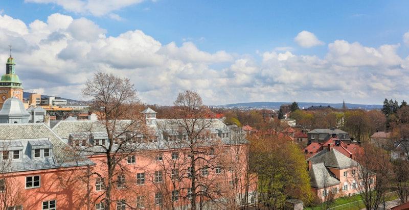 Flott utsikt fra takterrassen