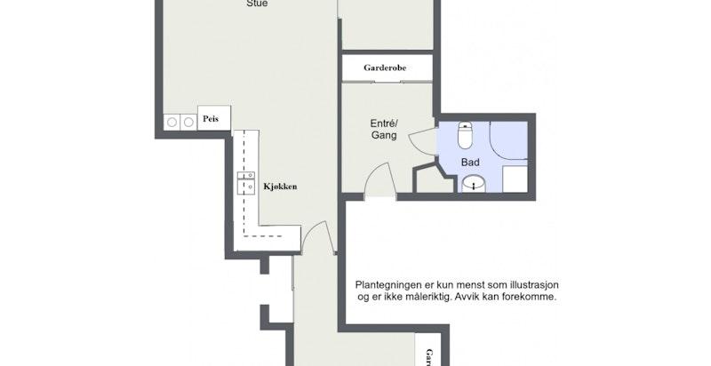 Alternativ planløsning - kjøkken flyttes til spisestue, og bygger et ekstra soverom der hvor kjøkken er i dag.