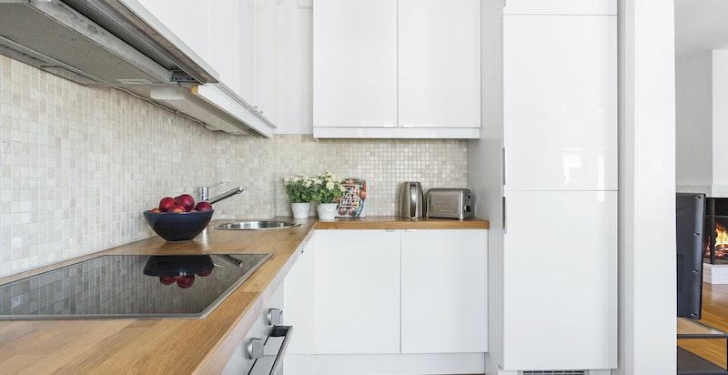 Kjøkkenet kan eventuelt flyttes til spisestuen, slik at dette blir et soverom nummer to.
