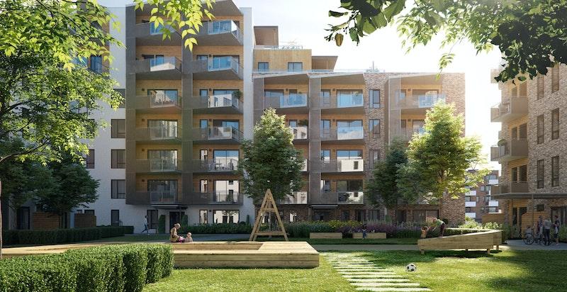 """Saga Terrasse trinn 3 består av bygget """"G2"""" med 41 nye leiligheter"""