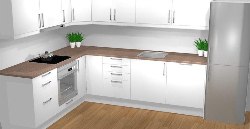 -Standard kjøkken fra Norema med hvitevarer-