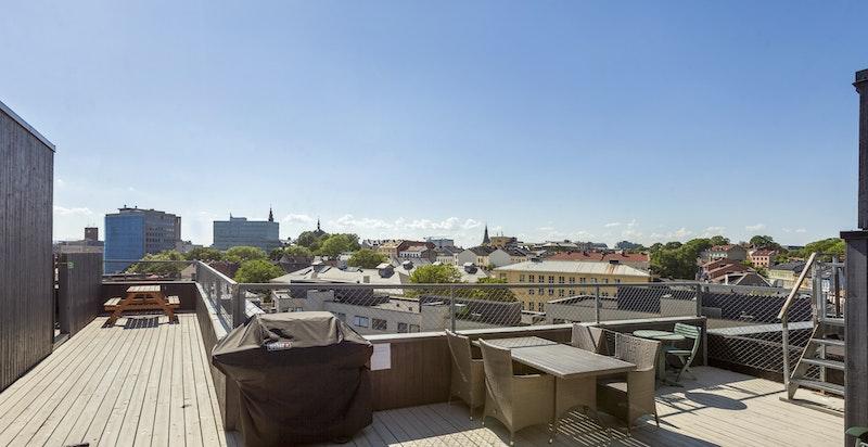 Fra takterrassen har du storslått utsikt over hele Oslo by.
