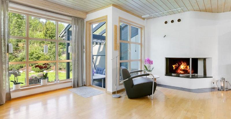 Stue med peis og utgang til solrik hage