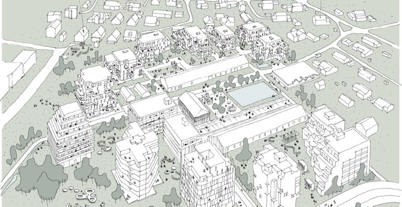 Magasinparken - Håndskisse gjort av Reiulf Ramstad Arkitekter.