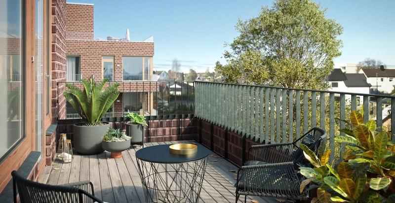 Balkonger og terrasser leveres med tremmegulv. Illustrasjon. Se mer på www.urbanvillas.no