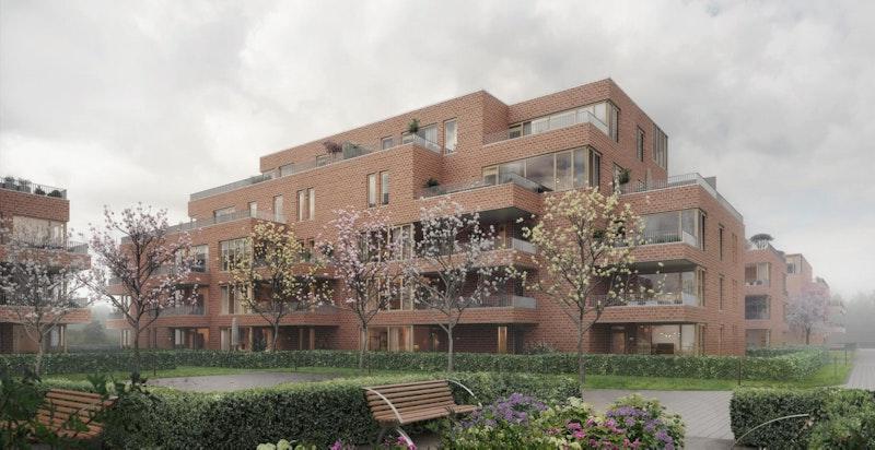 Frodigheten i Magasinparken vil bli noe av områdets varemerke. Illustrasjon. Se mer på www.urbanvillas.no
