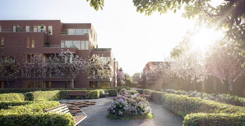 Hyggelige møtesteder inne i Magasinparken. Urban Villa Hus D ses til venstre. Den ene magasinhallen og Hus A kan så vidt skimtes til høyre. Illustrasjon.
