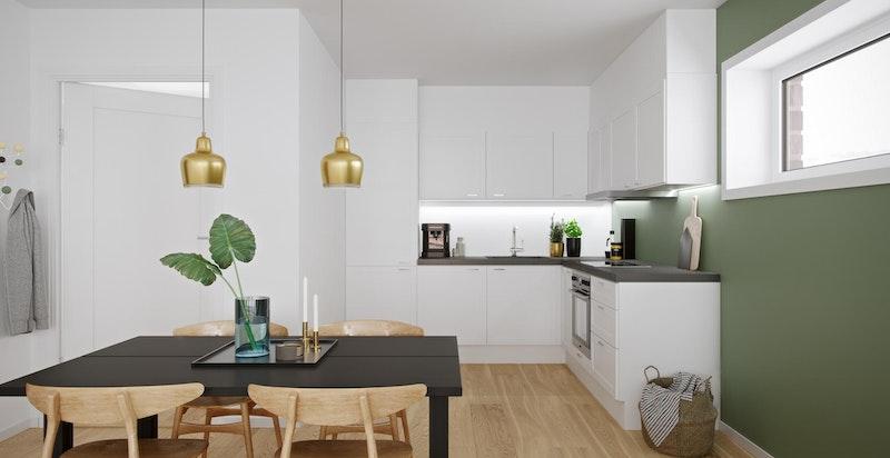 Urban Villa - eksempel 2-roms. Flere vederlagsfrie valgmuligheter på kjøkken. Illustrasjon.