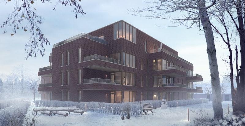 Vinterstemning Hus C. Illustrasjon. Hus C består av 17 boliger fra 43-128 kvm