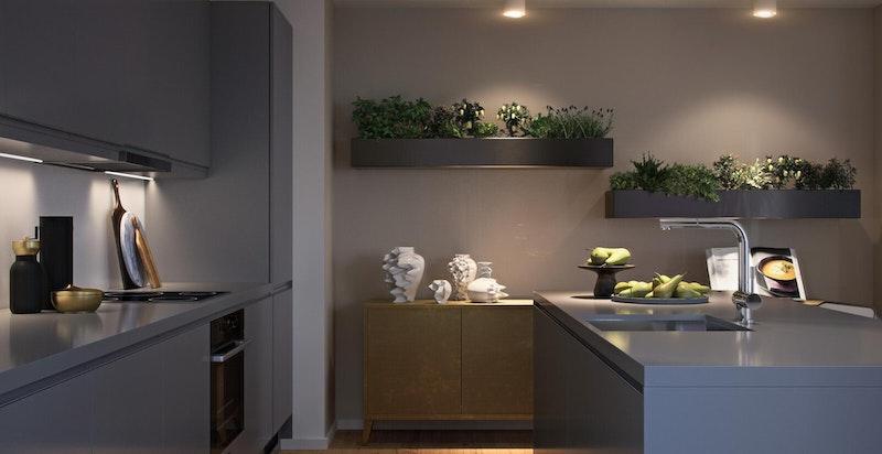 Illustrasjon fra Urban Villa Hus C. Mange muligheter på kjøkken og interiør.