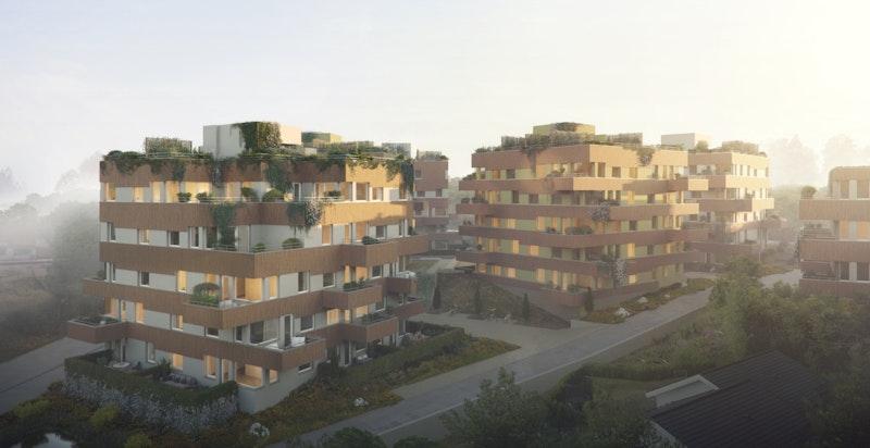 Solon Eiendom står bak utviklingen av Parkveien Langhus. Hus E til venstre. Illustrasjon.